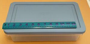 VTG Sheer Rubbermaid Storage Box Blue Lid USA Stackable Shoe Keeper Bin 1990s
