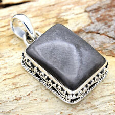 Silver Sheen Black Obsidian Solid 925 Sterling Silver Vintage Hand Made Pendant