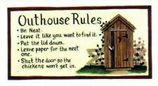 4.5x10 Country Wood Outhouse Rules Vintage Primitive retro Bathroom Decor Sign