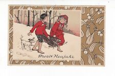 NEW YEAR  greetings EMBOSSED Artist card with gilt decoration VINTAGE  postcard