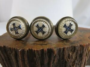 Lot of 3 Antique Victorian Blue Cross Picture Nail Artwork Curtain Tie Back RP24