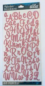 Sticko Pink Glitter Script Alphabet Letter Stickers Planner Teacher Supply Craft