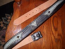 Beautiful! Vintage Style Leather Belt Handmade, Teal Green Suede Hawk Inlay 38