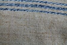 ANTIQUE HOMESPUN GRAIN SACK FABRIC HEMP 15 YARDS BLUE STRIPE ORGANIC MATERIAL .