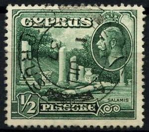 Cyprus 1934 SG#134, 1/2pi Green KGV Used #D51662