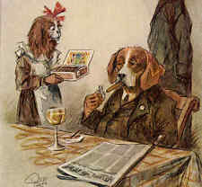 Willing Waitress Brings Cigars To Important Dog,Smoking,Wine,Beagle? Postcard
