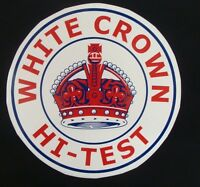 White Crown Hi-Test Graphic Decal *Gas & Oil* / gas pump stickers / crown gas
