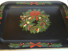 Bombay Company Centrum Large Black Hand Painted Christmas Tray Metal Trumpet