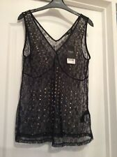 New Next Hip Length Black Lacy Sleeveless V Neck Top With Studs Size 10
