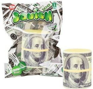 """2.5"""" SQUISH MONEY Squeeze $100 Money Roll Toy Party Favors Squishy"""