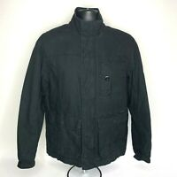 Converse One Star Black Jacket Quilted Lined Zip Snap Front Coat Size XS