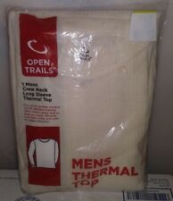 OPEN TRAILS MENS CREW NECK LONG SLEEVE THERMAL TOP 1 MEDIUM WHITE A-10
