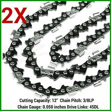 2X CHAINSAW CHAINS SEMI CHISEL 3/8LP 050 45DL FOR OZITO 12 BAR 25.4CC