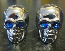 Silver Skull Dust Caps for BMX MTB Bicycle Bike Cycle Car Schrader Valve Blue
