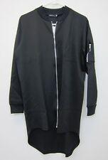 Boohoo Women's Maddison Longline MA1 Bomber Jacket US 6 Black  NWT