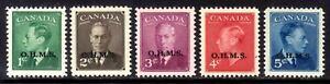 "CANADA OFFICIAL #O12-O15A SET/5, 1950 KGVI ""OHMS"" OVERPRINT, MNH"