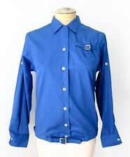 Euc Unworn Vtg 60s Blue Blouse Career Top Gold Buckle Belt Roll Tab Sleeves 12