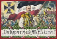 Der Kaiser rief Gott mit uns 1914 Blechschild Schild gewölbt Tin Sign 20 x 30 cm