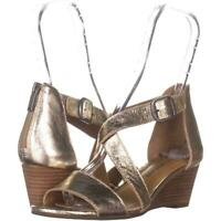 Lucky Brand Womens Size 9M Jenley Platinum Leather Wedge Sandal
