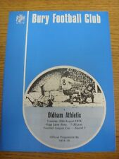 20/08/1974 Bury v Oldham Athletic [Football League Cup] (team changes). Item app