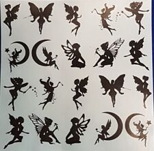 "20PC Fairies 2"" Vinyl Decal Silhouette Sticker Wine Glass Wall Art Plastic etc"