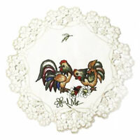 """Charming Vintage Embroidered Doily Chicken Rooster Hen Flowers 7-3/4"""" Wide"""