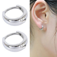 925 Small Round Womens Mens Sterling Silver Hoop Sleeper Huggie Stud Earrings