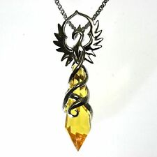 Phoenix Flame Yellow Crystal Keeper Pendant Necklace Anne Stokes Silver Plated