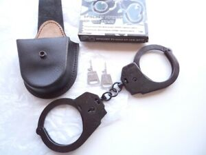 """Handcuffs BR-1 KF """"Crab"""", new, made in Russia, + 2 keys, + new leather case"""