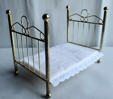 Handsome Dollhouse Miniature Large Brass Bed, New!