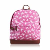 Women's Canvas Rucksack Girls Printed Backpack Back to School Bag Dog Cat Print