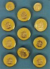 """Set of (9) Lg & (2) Sm Enamel Heraldic Blazer Buttons"""