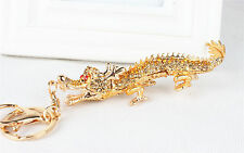New Creative Chinese Long Dragon Pendant Crystal Purse Bag Key Chain Lucky Gift