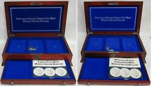 CARSON CITY US SILVER DOLLARS $1 FOR GSA HOLDERS WOODEN DISPLAY LOCKING 2 BOX'S