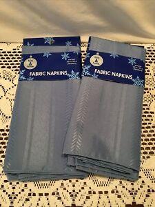 """New! Trim A Home Lot (4) Cloth Fabric Napkins Blue 20"""" Square  100% Polyester"""