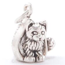 3D KITTY CAT KITTEN CHRISTMAS SANTA HAT 925 Sterling Silver Pendant .925 Charm