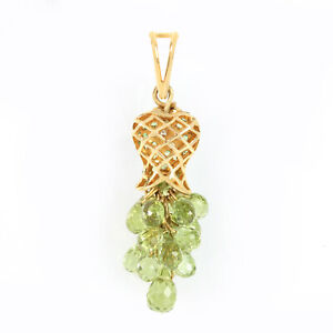 18K Yellow Gold Peridot Tsavorite Gemstone Diamond Pave Indian Handmade Pendant