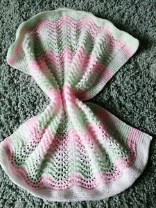 Hand knitted baby pink, mint&white in twinkle wool newborn baby blanket 54x64cm