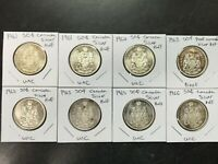 8 CANADIAN 80% SILVER UNC & PROOF HALF DOLLARS $4 1961-1966 FIFTY CENT COINS