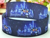 "7/8"" 2 YARDS Disneyland Mickey Minnie  Grosgrain Ribbon Castle Crafts Bows Cards"