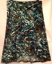 Evan Picone Hi Low Travel Slinky Skirt XL 16W 18 Blue & Green Poly Print $59