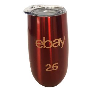 eBay Seller Christmas Gift Idea Red Travel Cup Mug Metal 6 oz 25th Anniversary