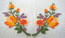 Orange roses pair flowers floral boutique Embroidered Sew Iron on Patch FREEship