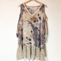 Umgee Cold Shoulder Floral Boho Tunic Womens Medium