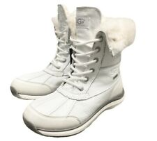 UGG ADIRONDACK III PATENT LEATHER WATERPROOF SNOW BOOTS WHITE -US SIZE 7 -NEW
