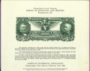 BEP 1980 ANA Conv B46 Intaglio Souvenir Card 1896 Educational $5 Silver Cert Rev