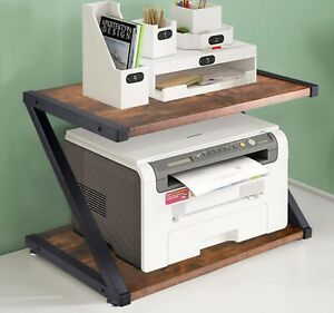 Wooden Desktop Printer Stand 2 Tiers Desk Printer Office Organiser Shelf Rack