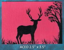 Original ACEO - Deer- miniature acrylic painting, not framed