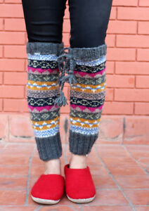 Grey Pink Multicolor Winter Legwarmers with Knitted Lace