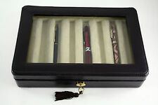 PEN CASE DISPLAY BOX CHEST IN GENUINE LEATHER glass..8 PEN CASE
